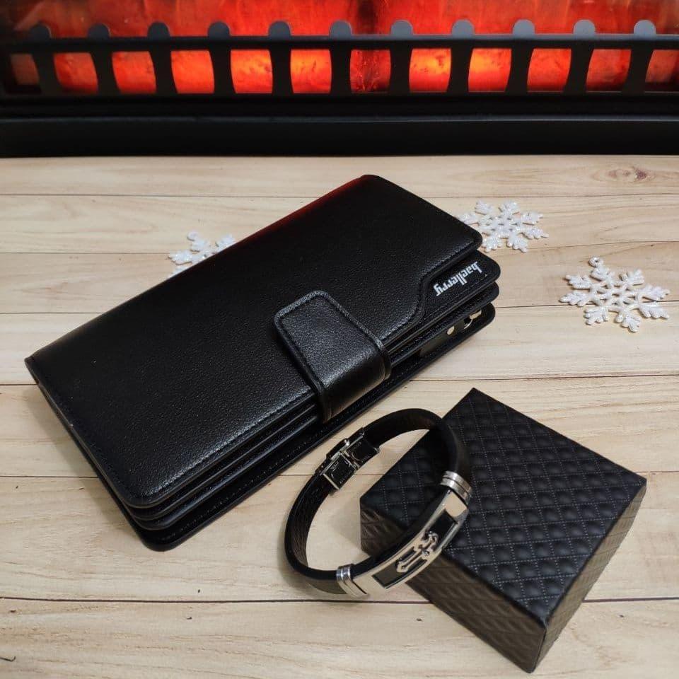 Подарочный набор №20. Мужской стильный клатч-портмоне Baellerry Business + браслет из стали и каучука Cross