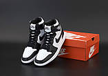 Кроссовки женские Nike Air Jordan 1 Retro Black White в стиле найк джордан (Реплика ААА+), фото 6