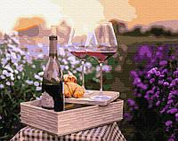 Картина рисование по номерам BrushMe Вино в цветах BRM32336 40х50 см Для кухни набор для росписи краски,, фото 1