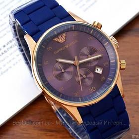Годинники чоловічі наручні Emporio Armani AR-5905 Gold-Blue Silicone / репліка ААА класу