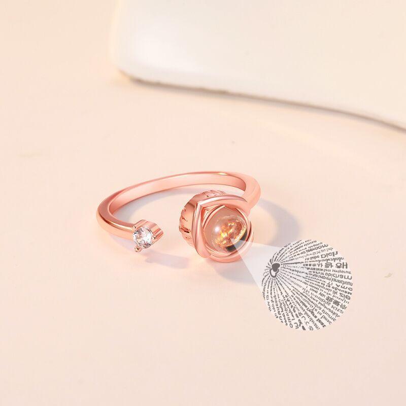 """Безразмерное кольцо с проекцией """"Я тебя люблю"""" на 100 языках мира, обручальное кольцо"""