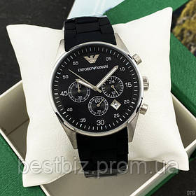 Годинники чоловічі наручні Emporio Armani AR-5905 Silver-Black Silicone / репліка ААА класу