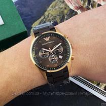 Часы мужские наручные  Emporio Armani AR-5905 Gold-Brown Silicone / реплика ААА класса, фото 3