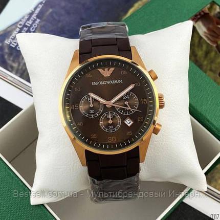 Годинники чоловічі наручні Emporio Armani AR-5905 Gold-Brown Silicone / репліка ААА класу, фото 2