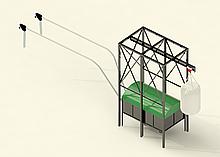 Бункер для пеллет с подъемной лебедкой для хранения и транспортировки пеллеты к котлам