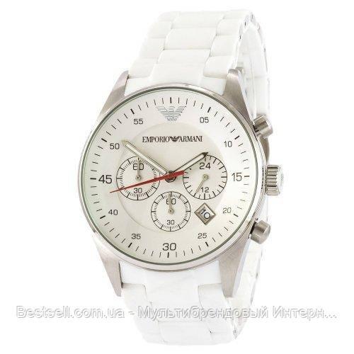 Часы мужские наручные Emporio Armani AR-5905 White-Silver Silicone / реплика ААА класса