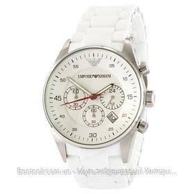 Годинники чоловічі наручні Emporio Armani AR-5905 White-Silver Silicone / репліка ААА класу
