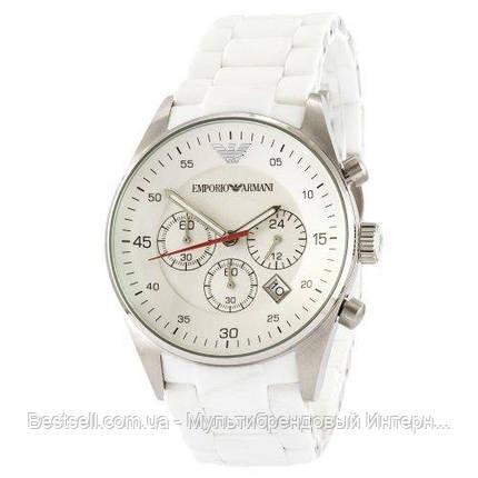 Годинники чоловічі наручні Emporio Armani AR-5905 White-Silver Silicone / репліка ААА класу, фото 2