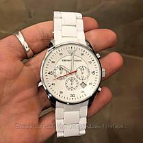 Часы мужские наручные Emporio Armani AR-5905 White-Silver Silicone / реплика ААА класса, фото 3