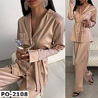 Женская стильная шелкова пижама СМ +большие размеры 3 цвета, фото 1