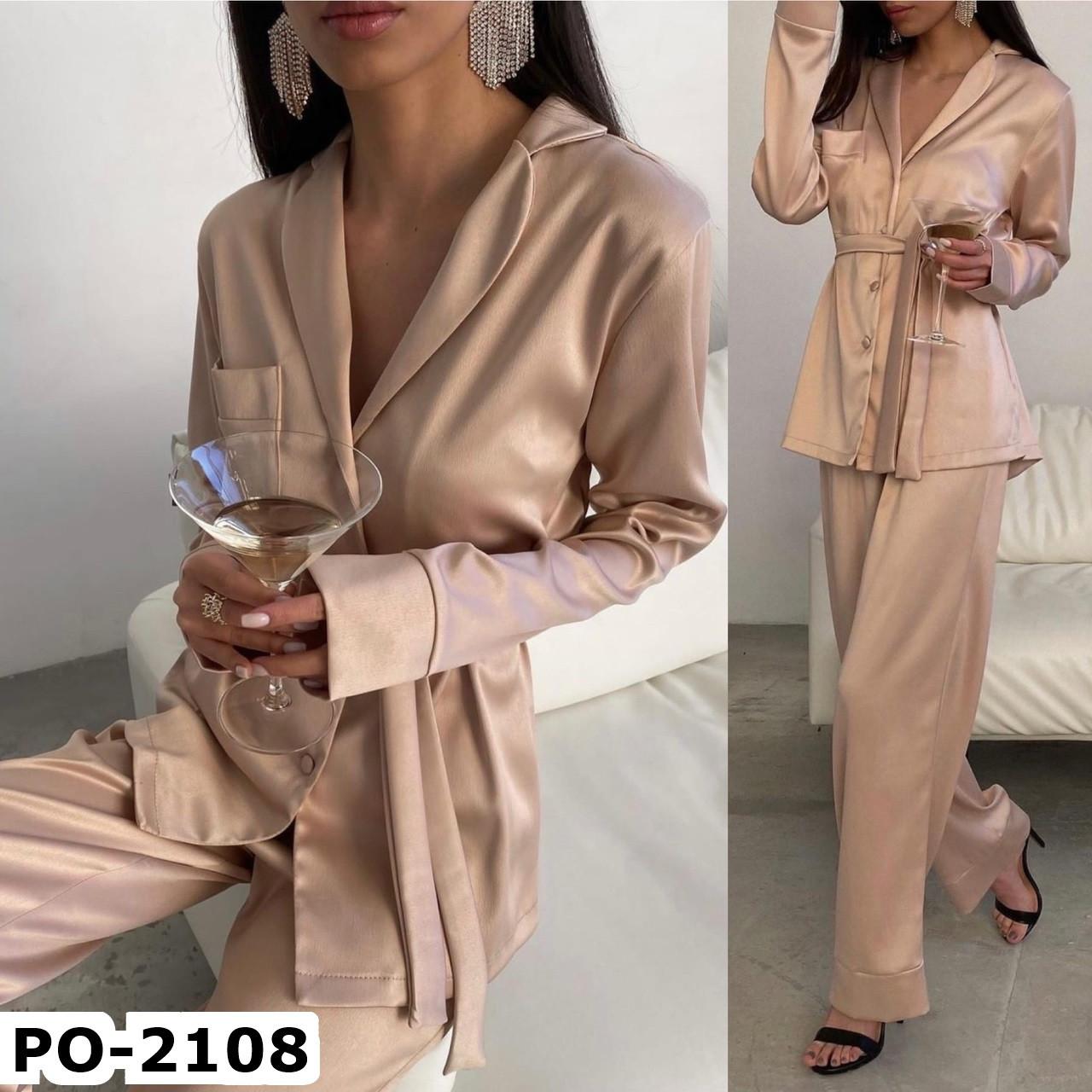 Женская стильная шелкова пижама СМ +большие размеры 3 цвета