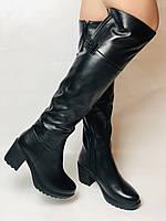 Molka. Натуральне хутро.Зимові чоботи-ботфорти на середньому каблуці. Натуральна шкіра. Люкс якість. Р. 37.38.39, фото 3