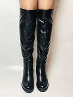 Molka. Натуральне хутро.Зимові чоботи-ботфорти на середньому каблуці. Натуральна шкіра. Люкс якість. Р. 37.38.39, фото 2