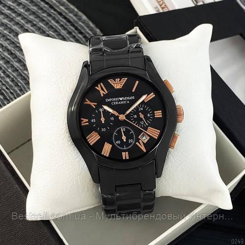 Годинники чоловічі наручні Emporio Armani AR-1400 Black-Gold / репліка ААА класу
