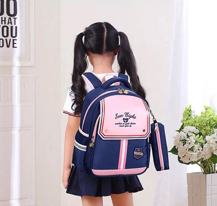 Рюкзак школьный анатомический с пеналом для девочки 1 - 2 - 3 класс, 7-8-9, детский портфель, ранец