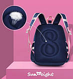 Рюкзак школьный анатомический с пеналом для девочки 1 - 2 - 3 класс, 7-8-9, детский портфель, ранец, фото 5