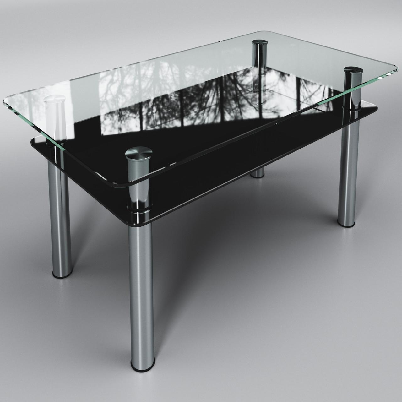Журнальный стеклянный стол Вега с полкой Черный ТМ Sentenzo