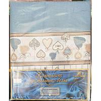 Молдавское полуторное постельное белье Бязь Tirotex - Love (blue)