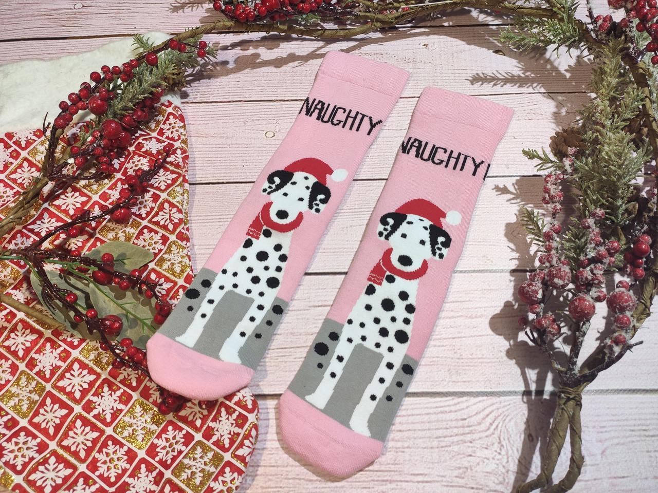 🎄 Новогодние розовые носки с далматинцами NAUGHTY 36-41 размер LEONORA