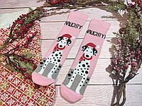 🎄 Новогодние розовые носки с далматинцами NAUGHTY 36-41 размер LEONORA, фото 1