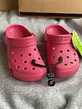 Яркие малиновые кроксы, шлепанцы сабо crocs, фото 4