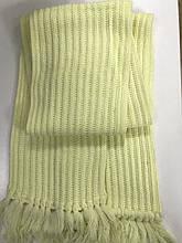 Вязаный шарф из полушерсти  английская резинка  цвет лимонный