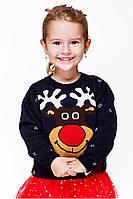 Свитер с оленями для девочки Теплый свитер с оленями детский, рождественский