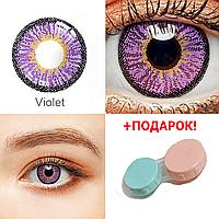 Цветные контактные линзы для глаз Фиолетовые + ПОДАРОК (Контейнер для линз) Косметические Цветные линзы Violet