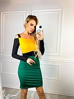 Женское стильное трехцветное платье в обтяжку, фото 1