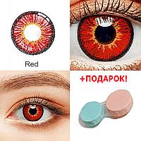 Цветные контактные линзы для глаз Красные + ПОДАРОК (Контейнер для линз) Косметические Цветные Мягкие линзы