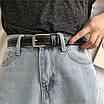 Женский эко-кожаный ремень классический прошитый простроченный черный, фото 5