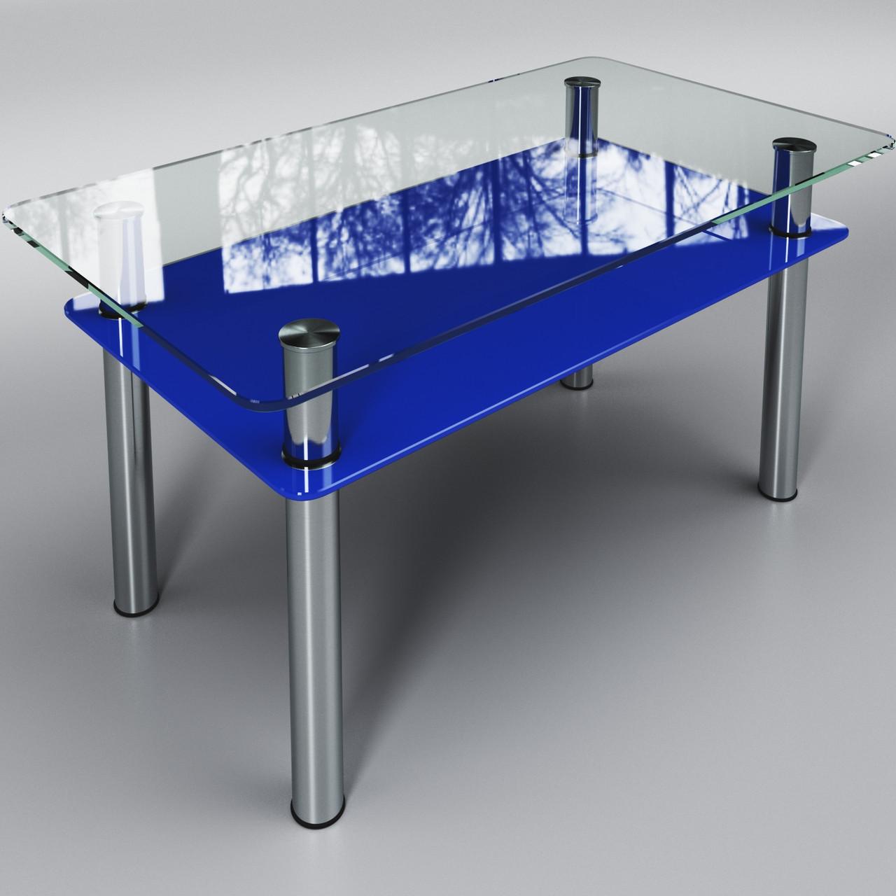Журнальный стеклянный стол Вега с полкой Синий ТМ Sentenzo