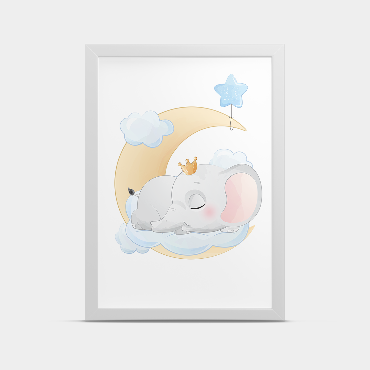 Постер на стену Слоник на луне Голубой 30*40 см