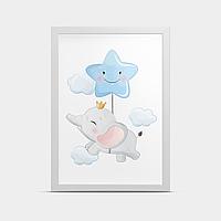 Постер на стену Слоник Голубой 30*40 см