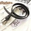 Женский эко-кожаный ремень классический прошитый простроченный черный, фото 6