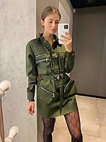 Платье рубашка под пояс с накладными карманами в стиле милитари длиной мини ( р. S, M) 83plt2007, фото 1