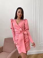 Платье на запах из неопрена нарядное с рукавом фонариком и поясом в виде банта (р. S - L) 17plt2012, фото 1