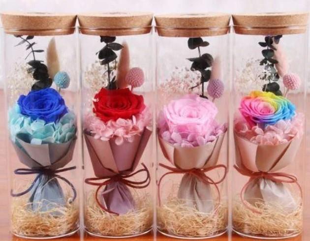 Роза в колбі з LED ВЕЛИКА  | Вічна троянда з підсвічуванням