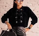 Кофта женская вельвет. Размеры: 42-46, 48-52 Цвет: мокко, чёрный, фото 4