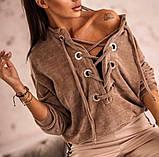 Кофта женская вельвет. Размеры: 42-46, 48-52 Цвет: мокко, чёрный, фото 2