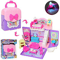 "Домик - сумочка для девочек. Для фигурок пони. Для Кукол LOL. Мебель. На батарейках. ""Pony"". арт. 901-663"