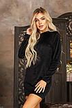 Платье женское велюровое. Цвет : чёрный , изумруд, фото 4