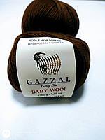Нитки-Пряжа для вязания GAZZAL Baby Wool Газзал Беби Вул №807 Темно-коричневый