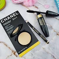 Набор 3 в 1 Chanel: тушь, пудра, карандаш для глаз.