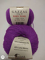 Нитки-Пряжа для вязания GAZZAL Baby Wool Газзал Беби Вул №815 Темная Фуксия