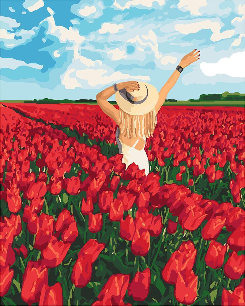 Картина рисование по номерам Идейка Поле тюльпанов KHO4721 40х50 см Люди на картине набор для росписи краски,