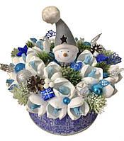 """Новогодний конфетный подарок """"букет""""Снеговик и подснежники""""№19"""