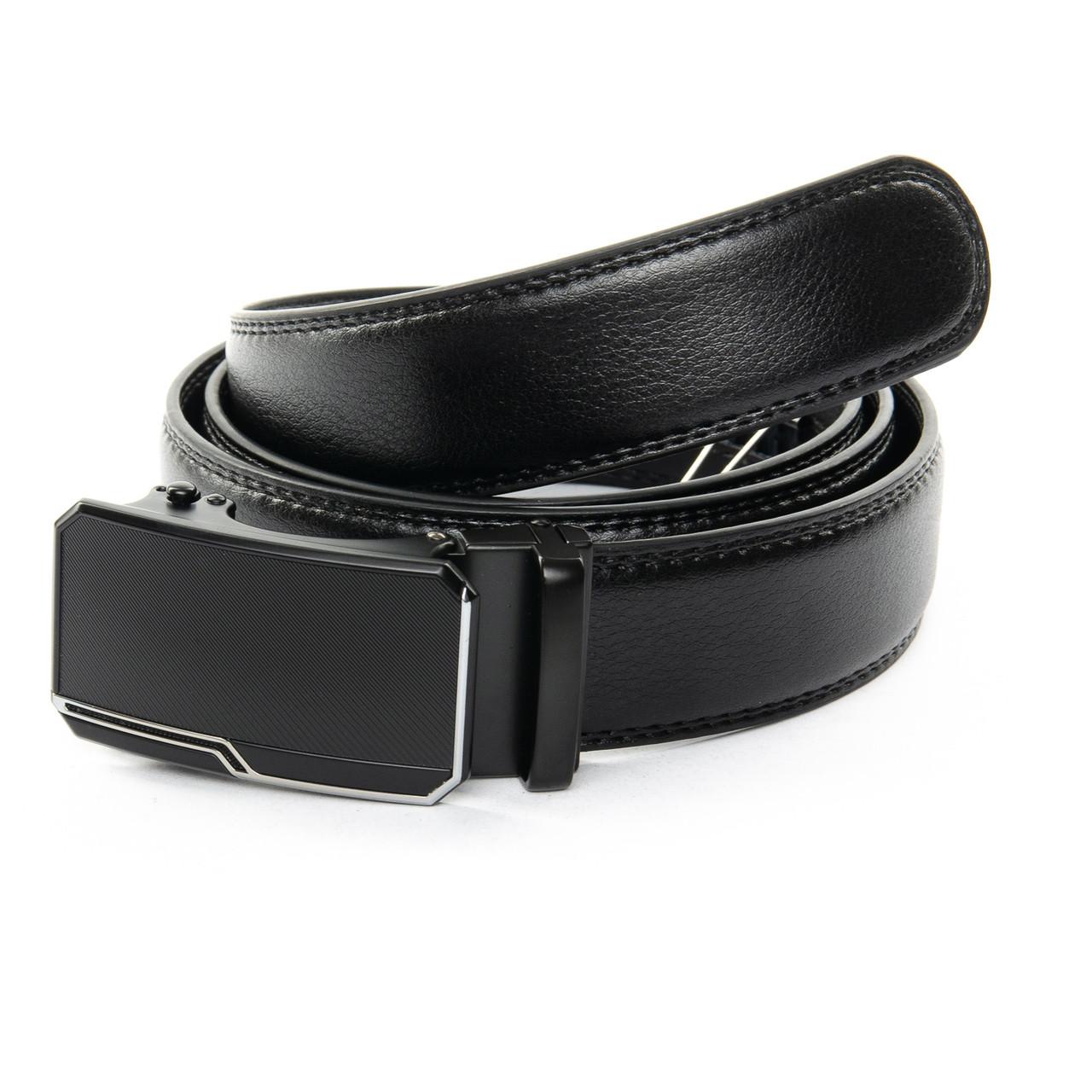 """Кожаный мужской ремень для брюк с пряжкой """"Автомат"""" 110см C40-1789-1 black"""