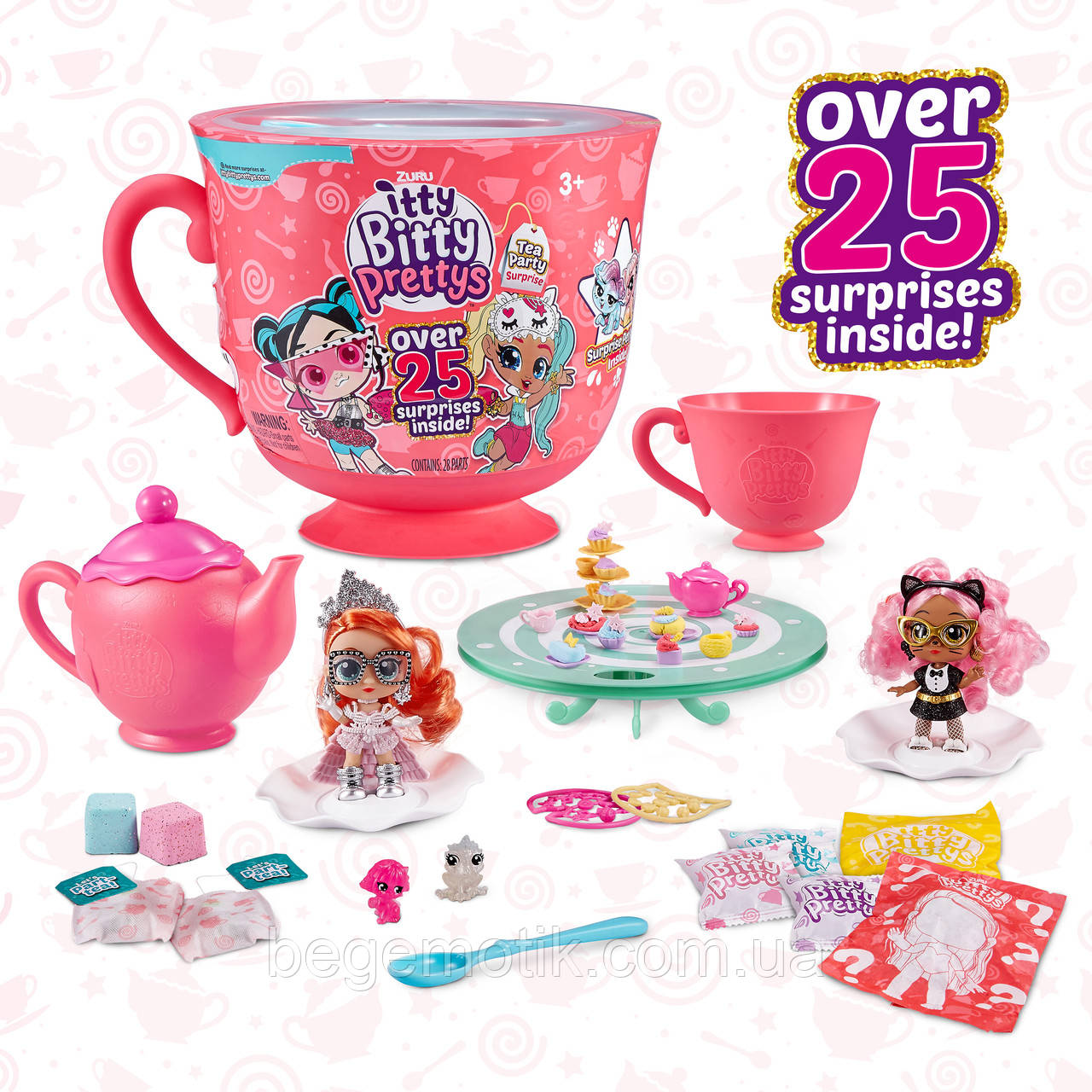 Игровой набор -сюрприз Чаепитие Итти Битти tty Bitty Prettys Tea Party Teacup Dolls Playset 9703A
