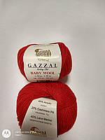 Нитки-Пряжа для вязания GAZZAL Baby Wool Газзал Беби Вул №811 Красный